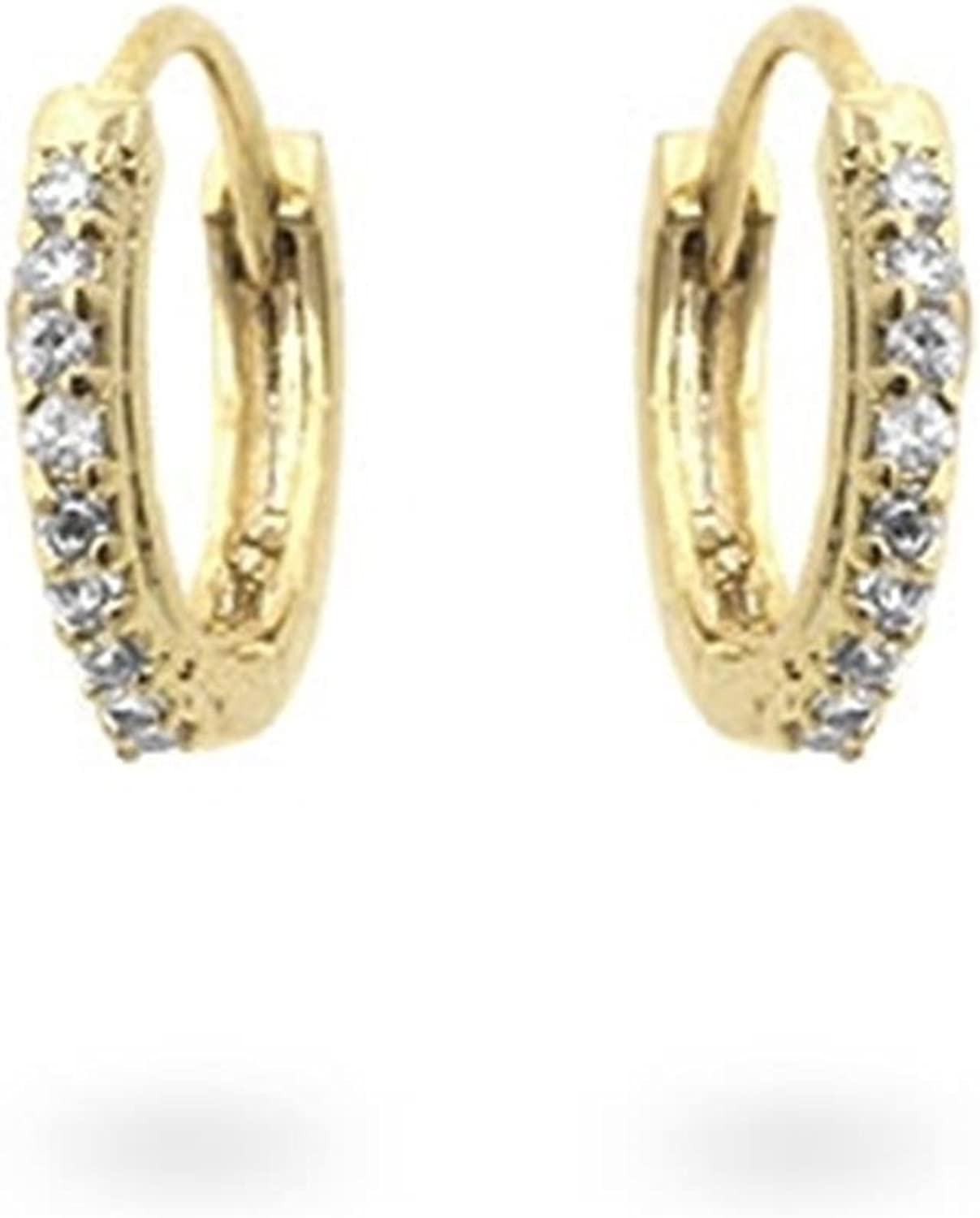 Small Classic gold Tone Hoop Earrings with Clear Cubic Zirconia Studs