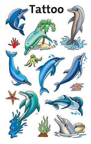 AVERY Zweckform 56439 Tattoo Kinder 13 Stück (Temporäre Tattoos Delfine, Kinder Tattoo wasserfest, Klebetattoos, Kindergeburtstag, Mitgebsel, Partyspiele Preise, Kinder zum Spielen, Kinder Geschenk)