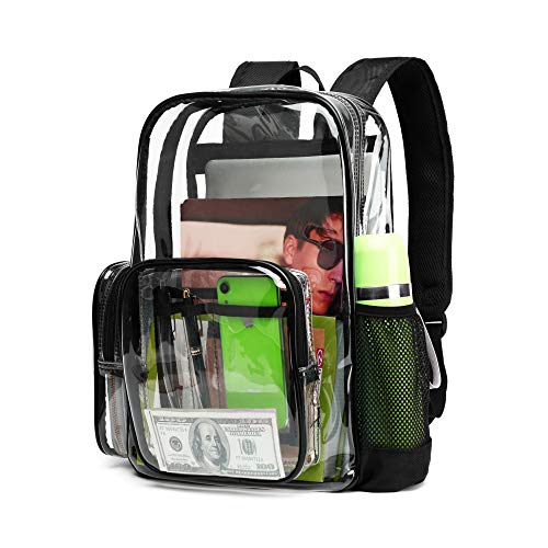 Clear Backpack, iSPECLE Durable School Backpack with Laptop Compartment Clear Backpack Stadium Approved with Reinforced Padded Straps Transparent Bag for School, Work, Security, Black