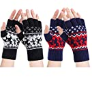 Fingerless Gloves - Womens Winter Warm Gloves Half-finger Wool Mittens Cold Weather Windproof Outdoor Sports Driving, Skiing, Running Gift for Family