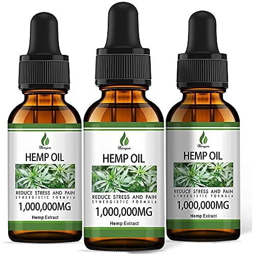 (3 Pack) Organic Hemp Oil for Pain Relief and Inflammation - 1,000,000 mg Extra Strength Hemp - for Anxiety & Stress Relief - Supports Sleep, Focus, Relaxation - Organically USA, Non-GMO