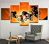 ADKMC Cuadros Modernos Impresión de Imagen Artística Digitalizada   Lienzo Decorativo para Tu Salón o Dormitorio   Carreras de Bicicletas BMX   5 Piezas 200x100cm(Sin Marco)