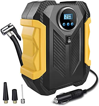 Surwit Portable Tire Inflator Pump, DC 12V Car Tire Air Compressor, Auto Shut Off Feature, Digital LCD Display, Emergency LED Flashlight, for Car Truck Motorcycle Bicycle Tires (Yellow): image