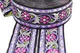 11 Yard Spool 1.37 inches Wide Bavarian Spring Time Floral Purple Jacquard Trim Floral Ribbon Tapes Band Jacquard Ribbon Ruban Ribbons