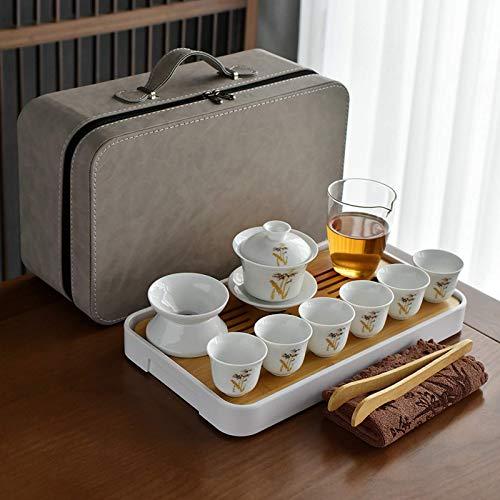 Juego de té de porcelana blanca Set de plato de té regalo personalizado porcelana blanca minimalista chino color sólido blanco cubierta tazón taza de té conjunto