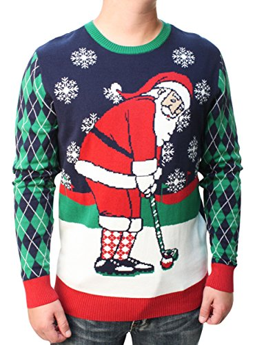 Ugly Christmas Sweater Men's Golfing Santa Pullover Sweatshirt-Small Moonlight