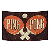 UNISE Ping Pong Typographical Vintage Grunge Style Tapestry Wall Art Blanket Tapestries Wall Hangings Bedding...