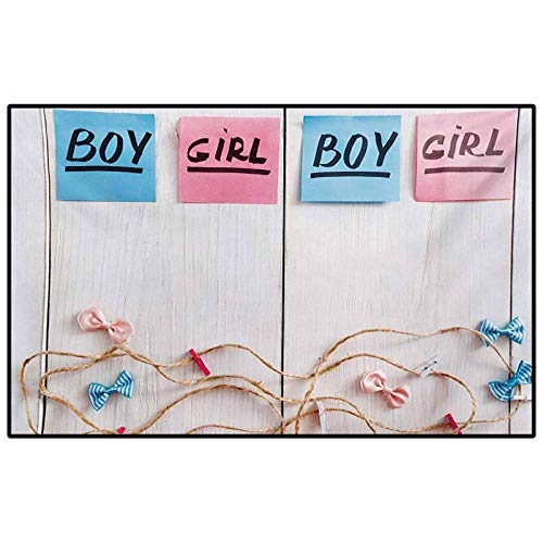 Kids Children Boys Girls Bedroom Rugs Gender Reveal,Colorful Stickers Garland and Ribbons Greetings on Wooden Seem Background,Multicolor Childs for Kids Teens Room Comfy Cute Floor Carpets