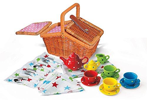 Picknickkorb mit buntem Porzellan-Geschirr, Puppen -Teeservice im Picknickkorb