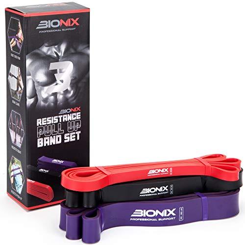 Bionix Pull Up Assistance Bands 3 Pack Set Travel Bag -...