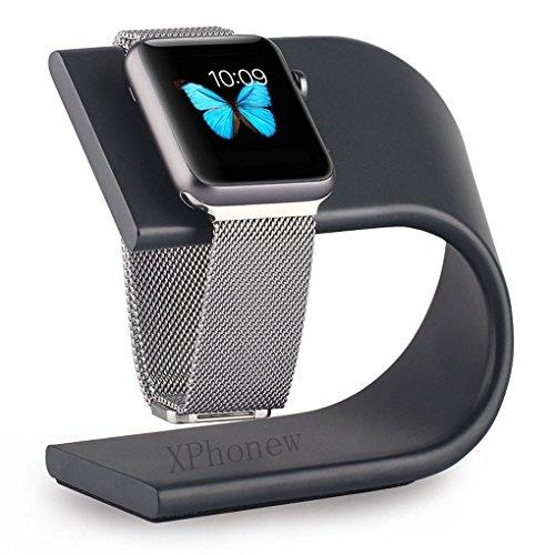 XPhonew Apple Horlogestandaard, Apple iWatch Standaard Oplader Dock Station Stevige Aluminium Platform Houder voor Apple Horloge 38mm en 42mm Sport/Edition 2015 Alle Modellen, Ruimte Grijs
