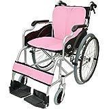 ケアテックジャパン 自走式 アルミ製 折りたたみ 車椅子 ハピネス ピンク CA-10SU