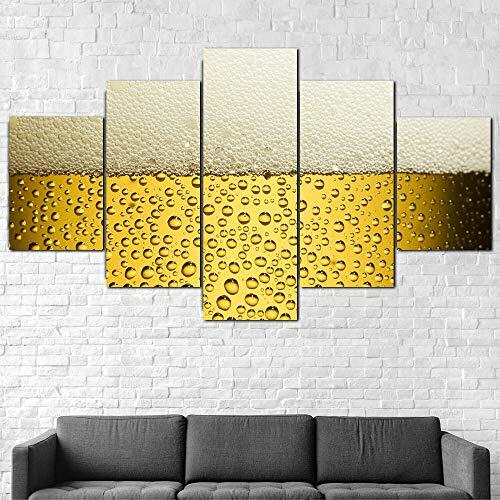 72Tdfc - Cuadro En Lienzo Imagen Impresión Pintura Decoración Cuadro Moderno En Lienzo 5 Piezas XXL 150X80 Cm Enmarcado Murales Pared Hogar Decor Vaso Cerveza Espuma Alcohol Fresco