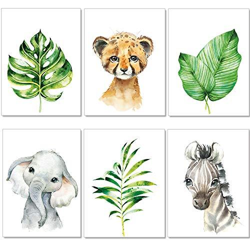 artpin® Bilder Kinderzimmer 6er Deko Set Junge Mädchen - DIN A4 Poster Tiere - Safari Afrika Wandbilder - Porträt Elefant Zebra Wandbilder (P50)