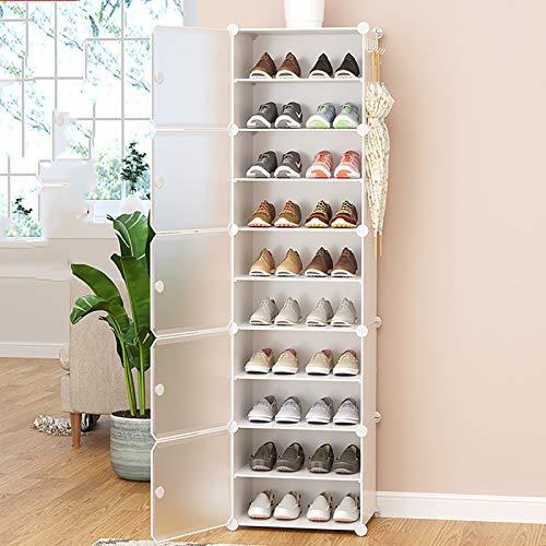 Multi-estante De Zapatos De Capa,Con Organizador De Almacenamiento De Estantes De Zapatos De Cubierta A Prueba De Polvo,Cajas De Zapatos De Plástico Transparentes,Torre De Zapatos -Blanco. 10-tier 44x