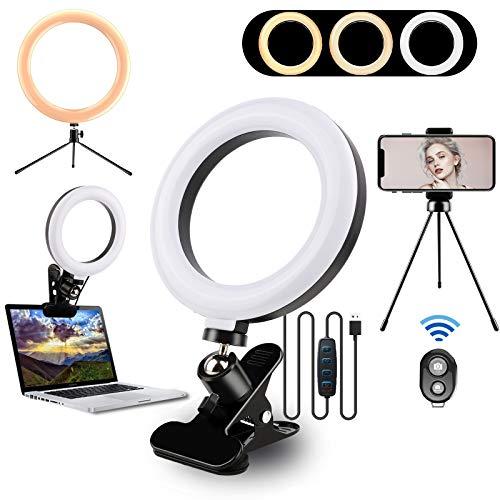 Lámpara de videoconferencia con soporte para trípode y soporte para teléfono