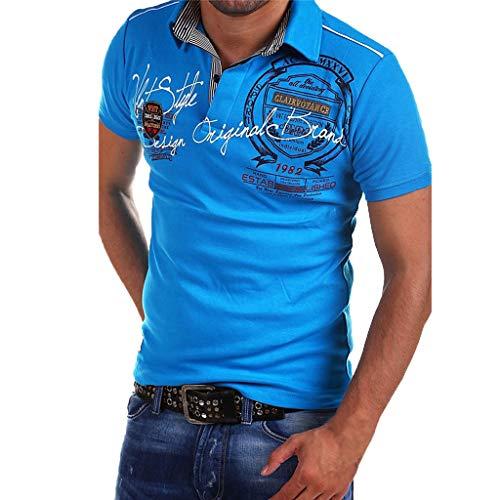 Celucke Polohemd Besticken Poloshirt Herren Mit Coole Print, Männer T-Shirt Kurzarm Polo Hemd Basic Shirt Freizeit Polohemden Kurzarmhemd Herrenhemden Sweatshirt Kurzarmshirt (Blau,L)
