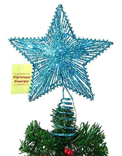 Christmas Concepts 10' Turquoise Springy Star with White Led Lights - Christmas Tree Top Star/Christmas Decoration