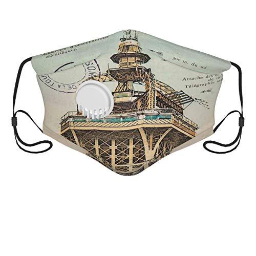 JISMUCI Gesichtsbedeckung,Vintage Postkarte mit Eiffelturm Paris Frankreich 1910 seltene antike Sammlung,Sturmhaube Unisex Wiederverwendbar Winddicht Staubschutz Mund Bandanas Outdoor Camping Running