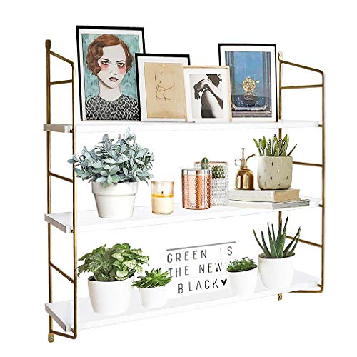 BOLUO Gold Wall Shelf Modern White Floating Shelves Bathroom 3 Tier Mounted Shelving Bedroom 24 Inch