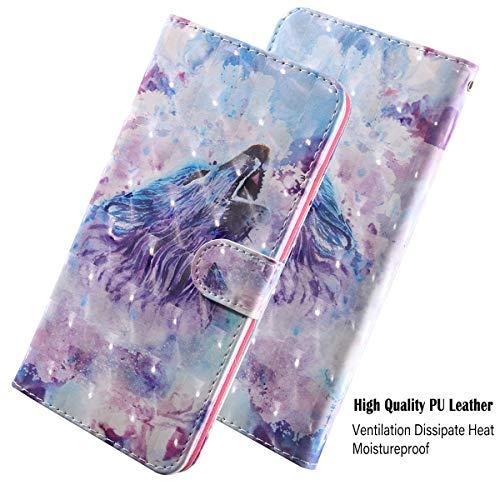vingarshern Hülle für Huawei Y3 (2017) Schutzhülle Tasche Etui Klappbares Magnetverschluss Flip Case Lederhülle Handytasche Huawei Y3 2017 Hülle Leder Brieftasche(Wolf-2) MEHRWEG - 3