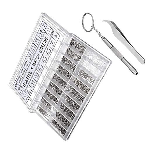 1000pcs de la Lente de Gafas de Sol Tornillos Kit de reparación con Pinzas Destornillador pequeños Tornillos Micro Frutos Secos Surtido