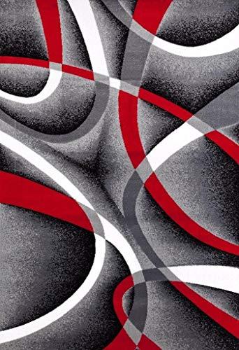 "ADGO Collection, Modern Contemporary Rectangular Design Rubber-Backed Non-Slip (Non-Skid) Area Rugs| Thin Low Profile Indoor/Outdoor Floor Rug (20"" x 59"", Silver10)"
