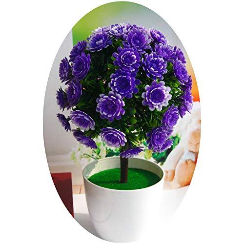 YSoutstripdu - 1 flor artificial en maceta, decoración de bonsái, decoración de jardín, boda, hogar, fiesta morado