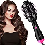Aiskki Hair Dryer Brush, All-In One Faster Drying Blower Brush, Negative Ionic Hot-Air Hair Brush Styler Volumizer, Hairbrush Dryer/Straightener/Curler/Volumizer/Salon Styling Round Brush (Rose-Black)