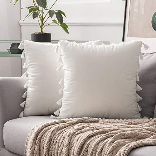 MIULEE 2er Set Samt Kissenbezug Quaste Kissenhülle Dekorative Tassel Dekokissen mit Verstecktem Reißverschluss Sofa Schlafzimmer Auto 20 x 20 Inch 50 x 50 cm Reines Weiß
