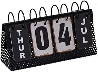 $22 » Small Desk Calendar Perpetual-Standing Academic Desk Calendar Pad Year Monthly Planner Weekly Daily Decor Vintage Metal Reproduction 10-3/4-in (Black+White)