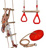 Set of Rope Ladder, Wooden Trapeze Swing & Red Plate Seat Outdoor Garden Toy