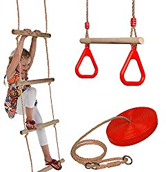 SET OF THREE - A great set of Rope Swing with Rings, Rope Ladder and Plate Swing GREAT OUTDOOR PLAY - Little acrobats can train their balance strength and power TRAPEZE SWING DIMENSIONS - The trapeze swing has a wooden bar (size approx. 45 x 3,5 cm) ...
