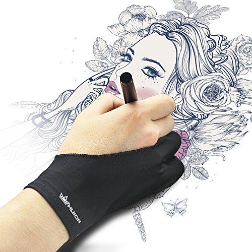 HUION Guante Anti incrustantes de Dibujo para Tableta Gráfica Tamaño Universal con Dos Dedos para Maño Derecha e Izquierda - Pack de 1