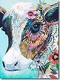 YEESAM ART Neuheiten Malen nach Zahlen Erwachsene Kinder, Bunte Kuh und Blumen 40x50 cm Leinen...