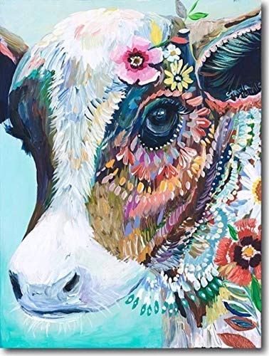 YEESAM ART Neuheiten Malen nach Zahlen Erwachsene Kinder, Bunte Kuh und Blumen 40x50 cm Leinen Segeltuch, DIY ölgemälde Weihnachten Geschenke (Kuh, Mit Rahmen)