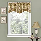 WAVERLY Navarra Floral Pattern Scalloped Window Valance Curtains, 52' x 16', Antique