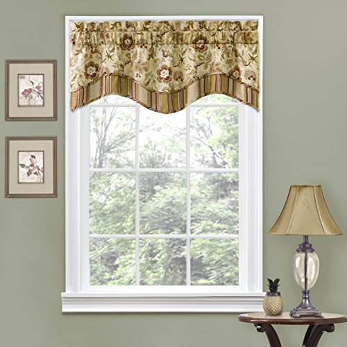 "WAVERLY Navarra Floral Pattern Scalloped Window Valance Curtains, 52"" x 16"", Antique"