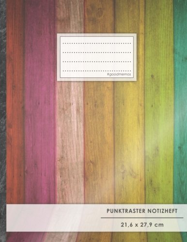 "Punktraster Notizbuch • A4-Format, 100+ Seiten, Soft Cover, Register, ""Holzleisten"" • Original #GoodMemos Dot Grid Notebook • Perfekt als Skizzenbuch, Tagebuch, Handlettering Übungsbuch"
