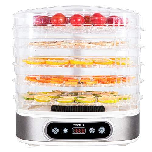 zociko Déshydrateur Alimentaire, Machine électrique déshydrateur de Nourriture de la Marque, Déshydrateur de Viande séchée, Déshydrateur de légume de Fruit, 5 Plateaux empilables, 500W