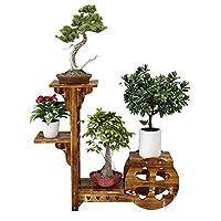バルコニー収納ラックフラワースタンド木製4層着陸多肉植物植物フラワースタンドディスプレイラックフラワーディスプレイ植木鉢収納ラック屋内屋外庭師のための植物スタンド、木製の色、1つのSi chen