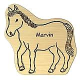 Geschenkissimo Frühstücksbrettchen für Kinder aus Holz in Pferde-Form + personalisiert mit Name - splittert Nicht, ideal zum Frühstücken, Abendbrot, Kochen und Backen