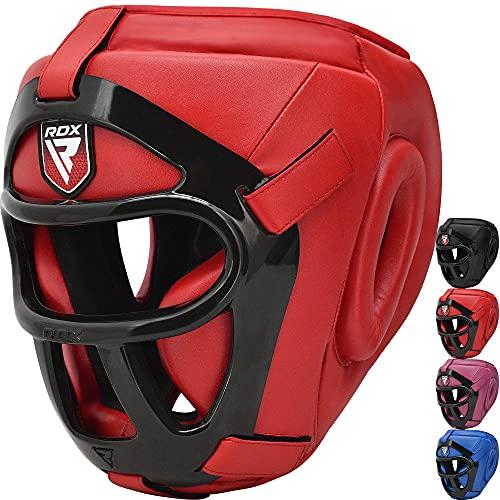 RDX Kopfschutz für Boxen, MMA Training Kopfschutz mit abnehmbarem Gesichtsgitter, Wangen, Ohr, Mundschutz Kopfbedeckung für Muay Thai, Grappling Sparring Kickboxen Karate Taekwondo Kampfsport