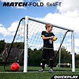 QuickPlay PRO Match-Fold Portable Soccer Goal Range with Carry Bag [Single Goal] Quick Setup Folding Soccer Goal for Clubs, Coaches & The Best Home Soccer Goal on The Market