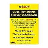 Updated Rules COVID-19 A4 1m+ Social DISTANCING Self Isolation Self Adhesive Door Sticker Signage Covid19 Corona Virus Isolate