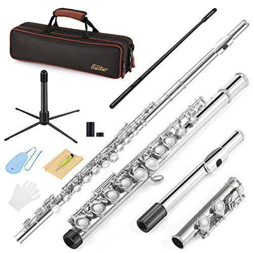 Eastar EFL-1 Closed Hole C Flutes 16 Key Nickel Beginner Student Kids Flute Musical Instrument With Carrying Case Stand Gloves Cleaning Rod and Cloth