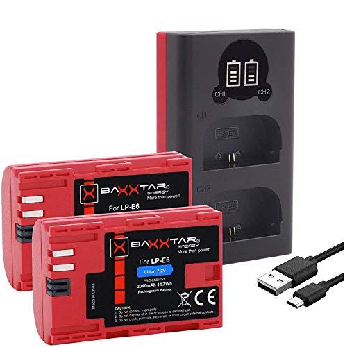 Baxxtar Pro (2X) Batería de Repuesto para Canon LP-E6 - Baxxtar Mini 1854 LCD Dual Charger (Entrada USB-C y MicroUSB)