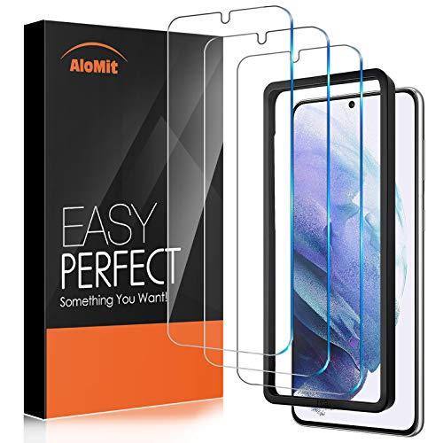 3 Pack AloMit Screen Protector for Galaxy S21 5G 6.2-Inch, [Support Fingerprint Unlock][Case Friendly][Easy Installation Frame] Tempered Glass Screen Protector for Samsung Galaxy S21 5G 6.2-Inch