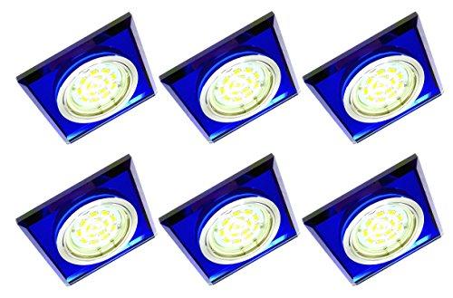 Trango TG6736B-06/6D Lot de 6 spots LED encastrables en verre bleu et aluminium inoxydable avec 6 ampoules LED 3000 K Blanc chaud à intensité variable 230 V