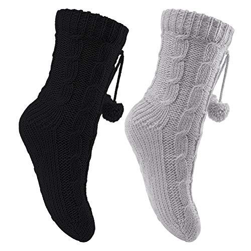 Celodoro 2 Paar Damen Kuschel-Strick-Socken Schwarz-Grau 35-38